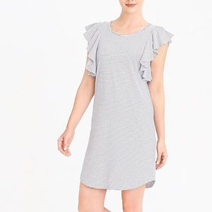 NWT J Crew Striped Ruffle Sleeve Dress